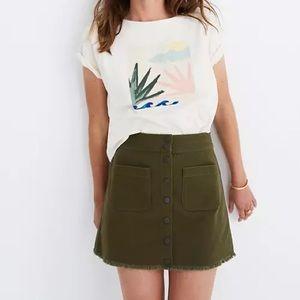 •Madewell• Raw Hem Button Skirt